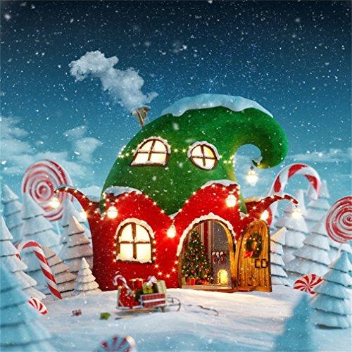 YongFoto 2x2 Fondo Fotografia Navidad Árboles Sombreros