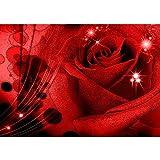 Vlies Fototapete PREMIUM PLUS Wand Foto Tapete Wand Bild Vliestapete - Rose Blätter Vintage Abstrakt Glitzer Kunst Blume Pflanze - no. 987, Größe:254x184cm Vlies