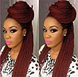ATOZWIG 99J African American Woman Hand Knoted-Braided Lace Hair Wigs Heat Resistant Synthetic Hair Box Braid Lace Front Wigs