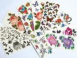 10pcs/package heißer Verkauf Tattoo-Aufkleber verschiedenen Ausführungen einschließlich rote Rosen / Pfingstrose / bunte Blumen / schwarz Schmetterlinge und Blumen / black roses / etc.