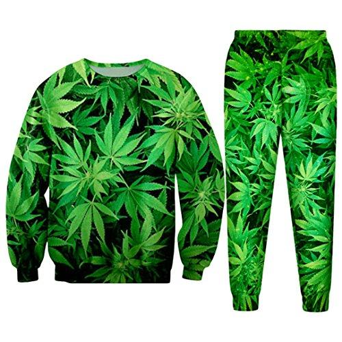 WEPTANSES Lässige Streetwear Sweatshirt und Hosen Feuille Green Hanf Blatt Weed 3D Crewneck Hoodie Pullover Männer Und Frauen Trainingsanzug 3D Green Tracksuits XL