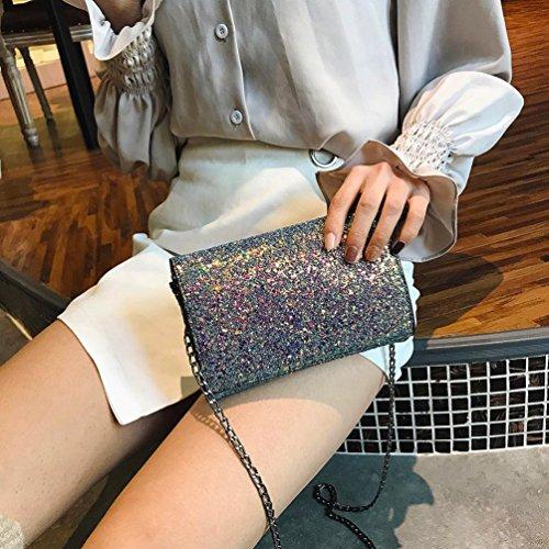 BZLine® Frauen Mädchen Leder Crossbody Umhängetasche mit Bling Pailletten Tasche Mehrfarbig