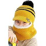 YONKINY Sombrero de Invierno Caliente Lindo Gorro de Punto con Forro Polar Primavera Otoño Sombrero y Bufanda para Niños Niña