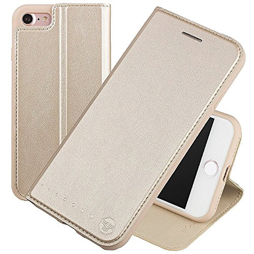 Nouske iPhone 7 iPhone 8 4.7 Zoll Stand Hülle Etui with Karte Halterung Leder Wallet Klapphülle Flip Book Case TPU Cover Bumper Tasche Ultra Slim, Gold