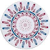 DYY DYYServiette de Bain Ronde et frangée en Tissu éponge Microfibre A_31 150x150cm