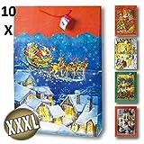 10x Geschenktüten JUMBO, XXXL Taschen Weihnachten 70x50,5x18 cm