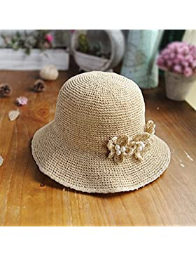 LVLIDAN Sombrero para el sol del verano Dama SolAnti-sol Beachstrawhat Simplestyle beige