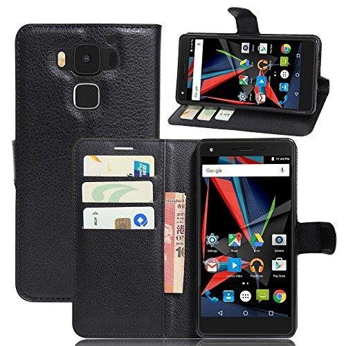 Tasche für Archos Diamond 2 Plus Hülle, Ycloud PU Ledertasche Flip Cover Wallet Case Handyhülle mit Stand Function Credit Card Slots Bookstyle Purse Design schwarz