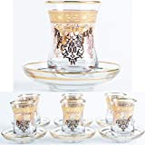 Turkish Tea Glasses Cups Set of 6 and Saucers with Vintage Gold Moroccan Crystal Cut Decors for Serving and Drinking Housewar