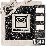 Marble Owl–Entdecker Set–Borsa di cotone con 3Blocco per Appunti, Libri (48pagine bianche) e 3adesivi–Vintage Composit Ion Book