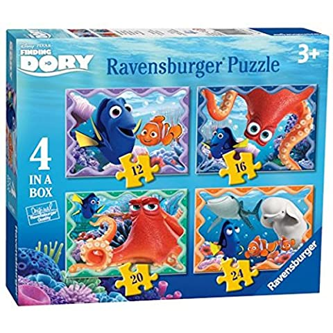Disney Finding Dory 4 In A Box Puzzle & Inspirational Fridge Magnet