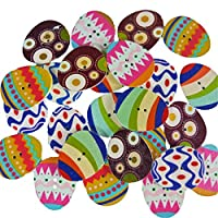 Anthony Peters Multicoloured Egg Shaped Wooden Buttons for Arts Crafts Easter Decoration Gifts Card Making Assorted Colours (Pack of 25)
