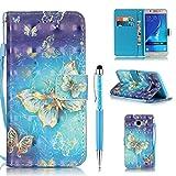 ZCRO Handytasche für Samsung Galaxy J5 2016 / J510, Leder Schutzhülle Brieftasche Hülle Flip Case Cover mit Muster Kartenfach Magnet Tasche Handyhüllen für Samsung Galaxy J5 2016/J510(Schmetterling)