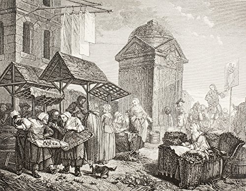 Ken Welsh / Design Pics - The Market In The Place Maubert Paris In The 18Th Century. After A Work By Jeaurat. From Xviii Siecle Institutions Usages Et Costumes Published Paris 1875. Photo Print (40,64 x 33,02 cm) 18th Century Place
