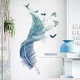 WandSticker4U® - Muurstickers veren in blauw I Wandafbeeldingen: 124 × 72 cm I Muurtattoo Woonkamer moderne spreuken vogel I