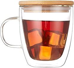 Cooko Kristall Kaffee Gläser,Doppelwandige Gläser,Hitzebeständige Kaffeetassen, Hoher Borosilikat-Becher 400ml mit Griff für Tee,Latte,Milch,Bier,Saft(1er Set)