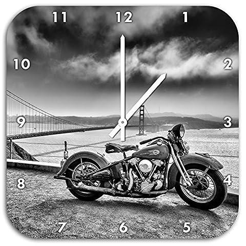 Monocrome, Harley Bike an Golden Gate Bridge in schwarz weiß, Wanduhr Durchmesser 48cm mit schwarzen spitzen Zeigern und Ziffernblatt, Dekoartikel, Designuhr, Aluverbund sehr schön für Wohnzimmer, Kinderzimmer, (Schwarz Rocker-uhr)