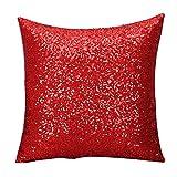 Kissenbezüge, bestpriceam Farbe Glitzer Pailletten Überwurf Kissen Fall Cafe Home Decor Kissen, rot, 40cm*40cm
