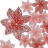 24 Stück Glitter Poinsettia Weihnachtsbaum Ornament Weihnachten Blumen Dekor Ornament (Rot)