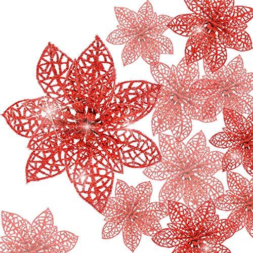 24 Piezas Poinsettia Brillante Adorno Árbol Navidad