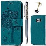 S6 Hülle, Wallet Handyhülle PU Leder mit TPU Inside Brieftasche Cover, [Kartenfach] [Magnetverschluss] [Standfunktion] Schutzhülle, Filp Case für Samsung Galaxy S6, Großer Baum in Blau