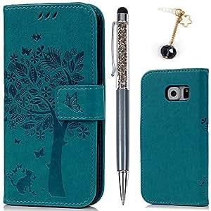 Cover per Samsung Galaxy S6, Flip Custodia Libro Pelle PU e TPU Silicone con Funzione Supporto Chiusura Magnetica Portafoglio Libretto Bumper Case per Samsung Galaxy S6 , Albero Blu