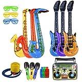 FEPITO 17 Pcs Aufblasbare Saxophon Gitarre Mikrofon Aufblasbare Instrumente Party Requisiten Shutter Shading Gläser LED Finger Licht für Party Dekoration Prop (zufällige Farbe)