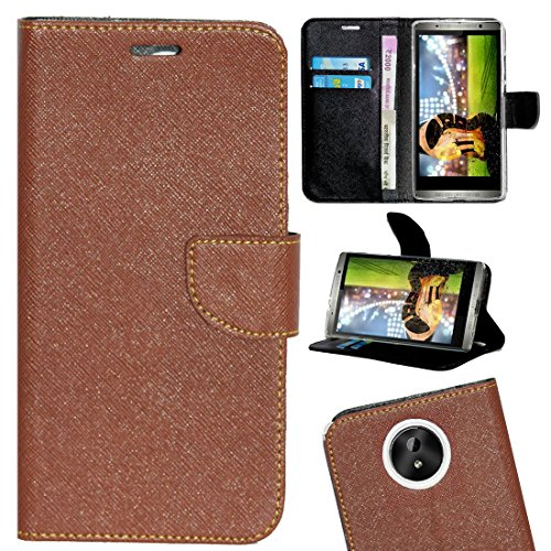 Zaoma Diary Wallet Type Flip Cover for Micromax Canvas Mega 2 Q426 Q426+ - Brown