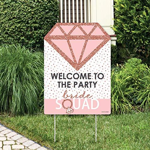 Big Dot of Happiness Bride Squad - Party-Dekorationen - Roségold Brautparty oder Junggesellenabschied, Willkommensschild