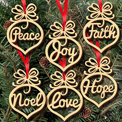 JAMILA 6 pcs De Noël Décoration en Bois Ornement Arbre De Noël Suspendus Tags Pendentif Décor de Fête De Noël Décoration Pendentif Ornements Baisse
