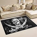 naanle schwarz-weiß-Totenkopf, rutschfest, Bereich Teppich für Dinning Wohnzimmer Schlafzimmer Küche, 50x 80cm (7x 2,6m), Vintage Sugar Skull Kinderzimmer-Teppich Boden Teppich Yoga-Matte, multi, 100 x 150 cm(3' x 5')