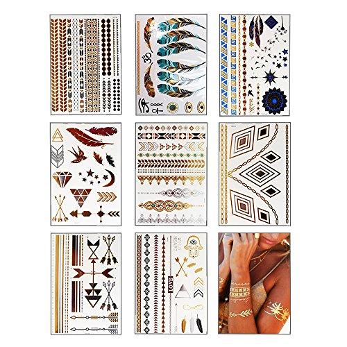 KINDPMA Temporäre Tattoos Metallic Klebetattoos Festival Tattoos Wasserdicht Tätowierung Aufkleber Flash Tattoo Gold Silber für Erwachsene Damen Kinder Männer, ()