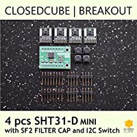 ClosedCube SHT31-D Mini (Digital I2C) Humidity & Temperature with SF2 Filter Cap (4 pcs) and TCA9546A I2C Switch Breakout Boards Bundle