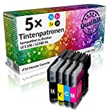 N.T.T.® - 5 Stück XL Patronen, kompatibel zu Brother LC1100 LC980 (2x schwarz & je 1x cyan magenta yellow) 1 SET + extra Schwarz