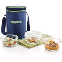 Borosil Glass Lunch Box Set of 3, 240  Safe Office Tiffin