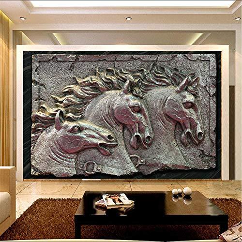 Skulpturen Home Decor (Lifme Wandbilder-3D Tapeten Home Decor Foto Hintergrundbild Pferd Skulptur Metall-Stil Hotel Bad Wandkunst Große Wandbilder-3D-120X100Cm)