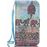 Meet de Protectora Estuche Para Apple iPhone 4 4G 4S Tapa Funda Book Style móvil Flip Cartera De PU Cuero Funda Protectora elefante étnica