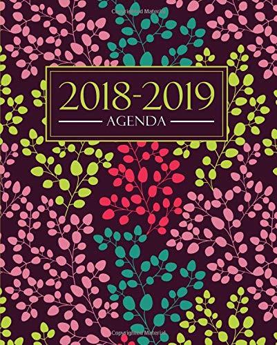 Agenda 2018-2019: 1 settembre 2018 al 31 agosto 2019: 19x23cm: Agenda 2018-2019 settimanale italiano: Motivo floreale alla moda in giallo, rosa, verde acqua e corallo