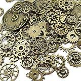 Paquete de 100gramos (aproximadamente 70 unidades) de engranajes Chenkou surtidos de aspecto envejecido para manualidades y joyas de estilo Steampunk marrón