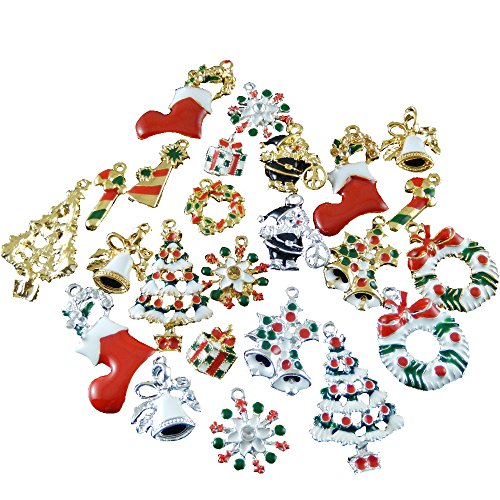 juliewang-30pcs-silver-gold-tone-mixed-enamel-christmas-gift-sock-tree-charms-for-jewelry-making
