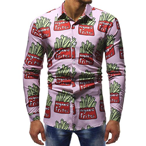Herren Oberteile,TWBB Vintage Mehrere Drucke Revers Shirt Männer Tops V-Ausschnitt Lange Ärmel Schlank Hemd Persönlichkeit Sweatshirts
