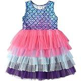 VIKITA Vestido para niña con diseño de sirena, tul, para fiestas, bodas, tallas 86-128