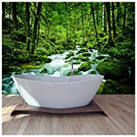 azutura Green Forest Wall Mural Rainforest Strem Photo Wallpaper Nature Home Decor available in 8 Sizes X-Large Digital