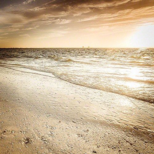 Sanibel Bad (Voss Fine Art Photography Exklusives Leuchtbild aus Echtglas in Galerie-Qualität. Sonnenaufgang am Strand Open Edition. Panorama-Bild mit LED Hinterleuchtung. Glasbild Wandbild Bild Wanddeko)