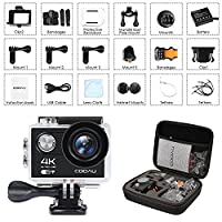 COOAU Waterproof Action Camera 4K, 12MP Wi-Fi Sport Helmet Camera Camcorder Cam, 170°Wide Angle, 1050mAh Battery, 20 Accessories Kit for Bike Motorcycle Surfing Diving Swimming Skiing Climbing, Black