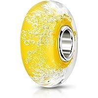 MATERIA in vetro di Murano perline giallo Luftblässchen Element - 925 argento Murano perle in vetro giallo con Sacchetto…