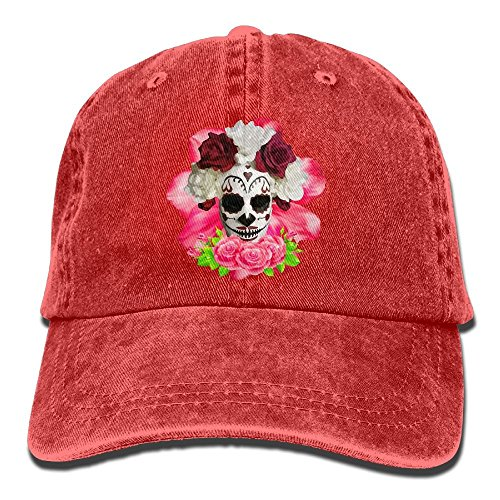 Trucker-Baseballmütze für Männer, Sugar Skulls and Red Roses Low Profile Washed Dyed Hats Baseball Caps Adjustable