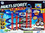 Multi Storey Car Park Play Set Toy With 3 Vehicles - 2 Cars And Helicopter