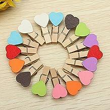 Kanggest 50pcs Mini Pinzas Madera Pequeñas Para Fotos Clips de Madera Decorativas Corazón Colores Ropa Papel DIY Mini Fotos de Madera(Color aleatorio), 3.5cm
