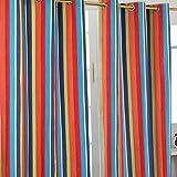 Homescapes Paar Vorhänge aus 100% Baumwolle–Multi Streifen–Orange Blau Gelb–Öse Ring Top Hand Gewebt–Heavy Nicht gefüttert, Baumwolle, Mehrfarbig, 137 x 228 cm